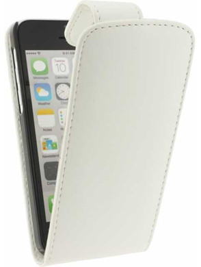 Xccess Leather Flip Case Apple iPhone 5C Wit