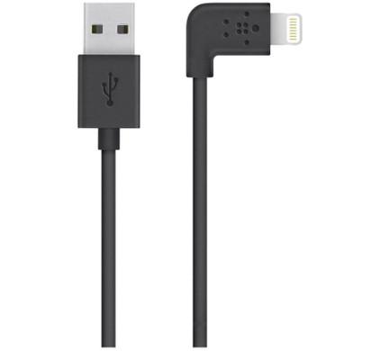 Belkin 90 Graden Lightning USB Kabel Zwart
