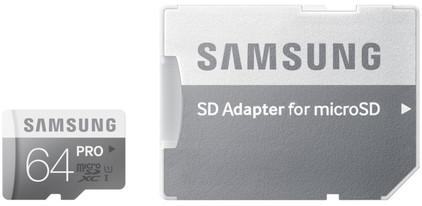 Samsung microSDXC Pro 64 GB Class 10 + SD Adapter