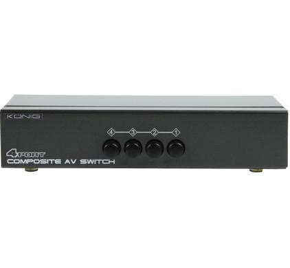 König 4-poorts composiet AV-switch