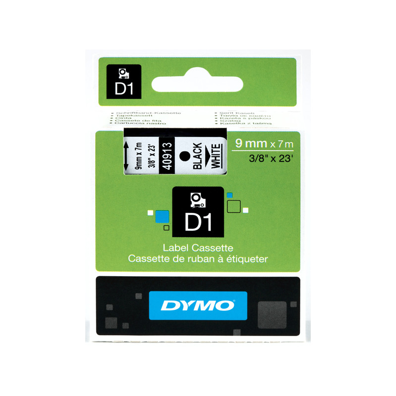 Dymo D1 Naamlabels Zwart-wit (9 Mm X 7 M)