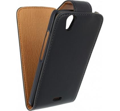 Xccess Leather Flip Case Wiko Birdy Zwart
