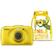 Nikon Coolpix S33 geel met rugzak