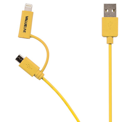 Valueline 2-in-1 micro USB/Lightning Kabel 1m Geel