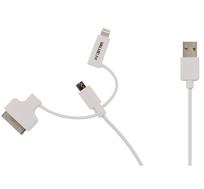 Valueline 3-in-1 micro USB/Lightning/30-Pins Kabel 1m Wit