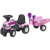 Falk Tractor Met Trailer Roze
