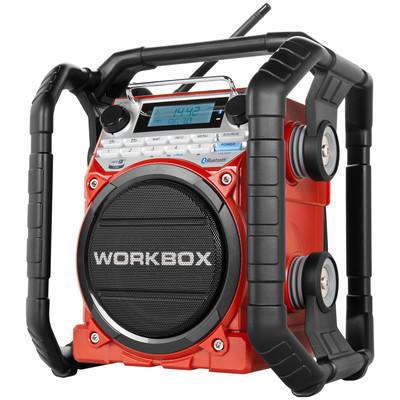 Image of FM Bouwradio PerfectPro Workbox AUX, Bluetooth, Middengolf, NFC, FM Stofvast, Spatwaterbestendig, Stofdicht Rood