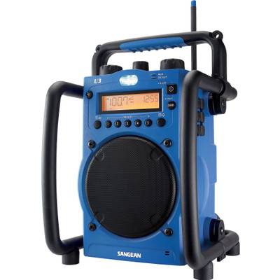 Image of FM Bouwradio Sangean U3 AUX, Middengolf, FM Spatwaterbestendig, Stofdicht, Stofvast, Zaklamp Blauw