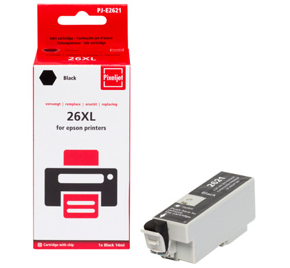 Huismerk Epson 26XL (T2621) Cartridge Zwart (Pixeljet - C13T26214010)