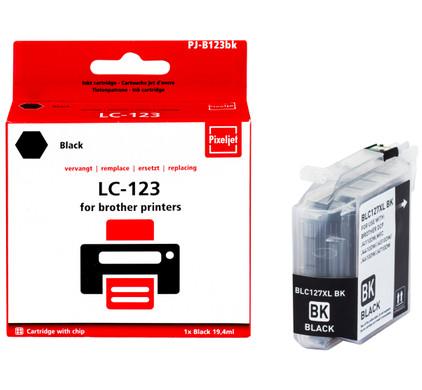 Huismerk Brother LC-123 Cartridge Zwart (Pixeljet - LC-123BK)