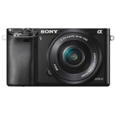 Image of E-mount systeemcamera Sony ILCE-6000LB Incl. SEL-P16-50 mm lens incl. standaard-zoomlens 24.3 Mpix Zwart Full-HD video-opname, WiFi, Draai- en zwenkbare