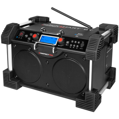 Image of DAB+ Bouwradio PerfectPro Rockhart BT AUX, Bluetooth Accu laadfunctie, spatwaterbestendig, stofdicht, stofvast, herlaadbaar Zwart