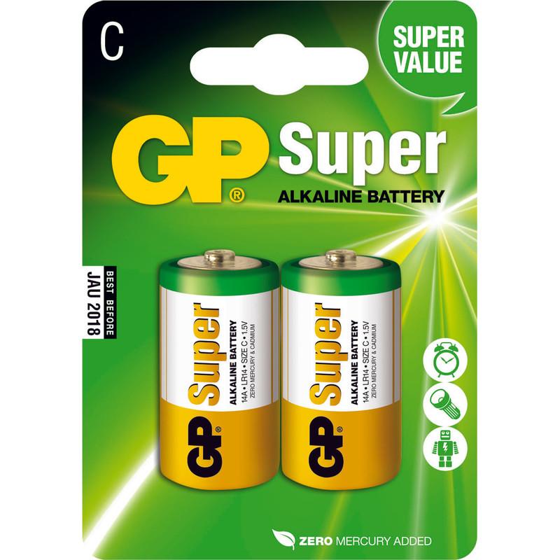 Gp Super Alkaline C Baby Kleine Staaf  Blister 2