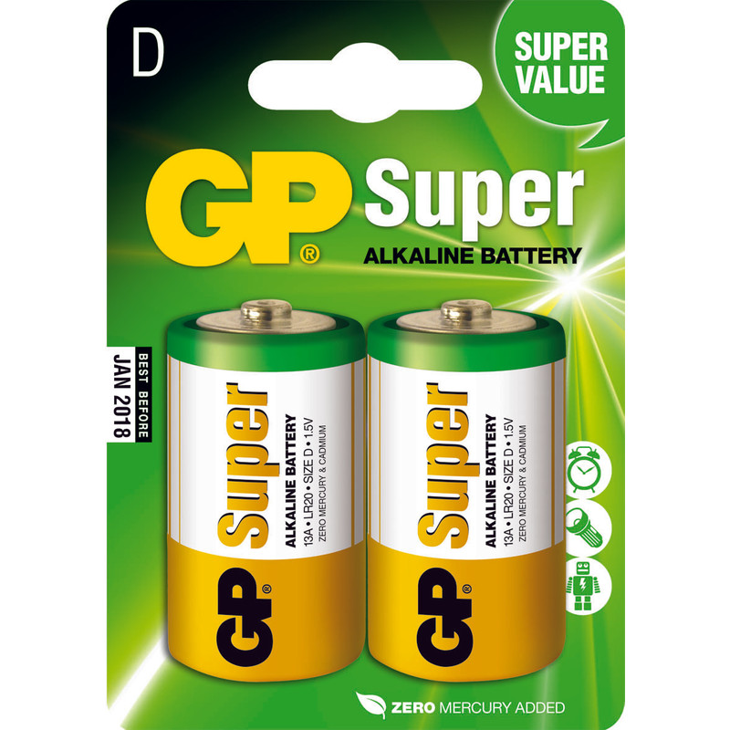 Gp Super Alkaline D Mono Grote Staaf  Blister 2