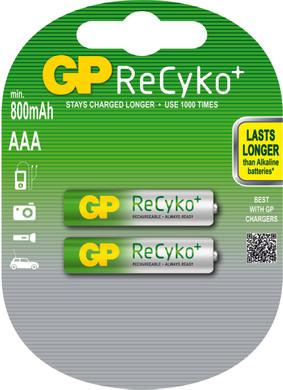 GP ReCyko+ oplaadbare AAA Micro penlite, blister 2
