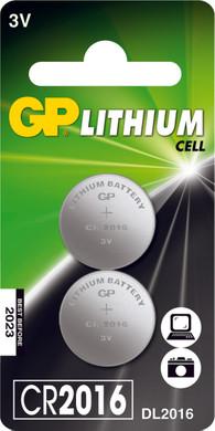 GP Lithium knoopcel CR2016, blister 2