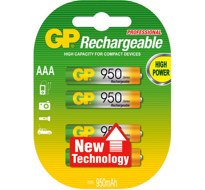 GP NiMH oplaadbare AAA 950 mAh Micro  penlite, blister 4