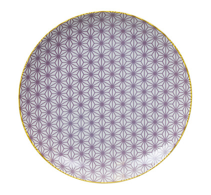 Tokyo Design Studio Star Wave Bord Paars & Geel 25,7 cm
