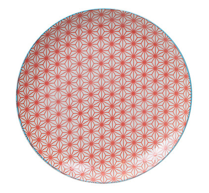 Tokyo Design Studio Star Wave Bord Rood & Lichtblauw 25,7 cm