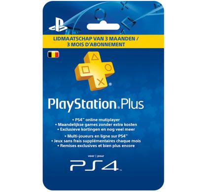 PlayStation Plus Card 3 Maanden BE