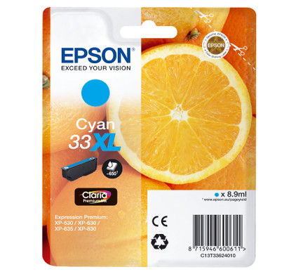 Epson 33 Cartridge Cyaan XL (C13T33624010)