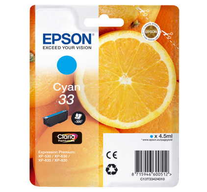 Epson 33 Cartridge Cyaan (C13T33424010)