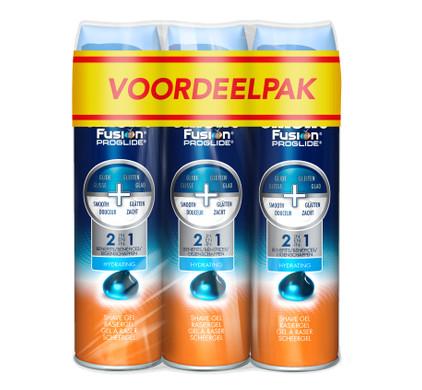3x Gillette Fusion ProGlide Scheergel Hydraterend (200ml)
