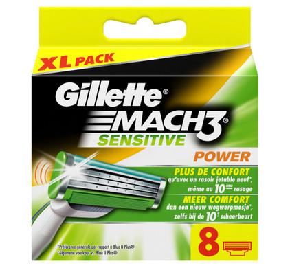 8x Gillette Mach3 Sensitive Power Scheermesjes