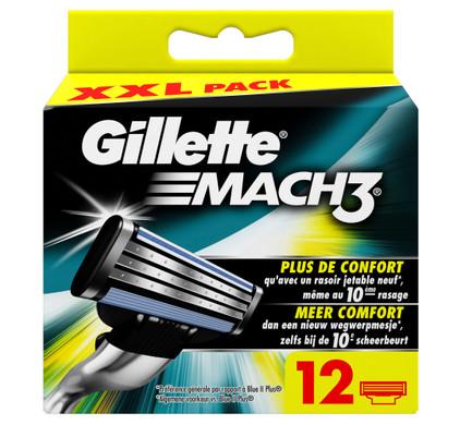 12x Gillette Mach3 Scheermesjes