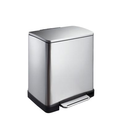 EKO pedaalemmer rechthoekig 20 liter - mat RVS
