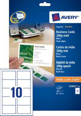 Avery Visitekaartjes Enkelzijdig Mat 10 Vellen