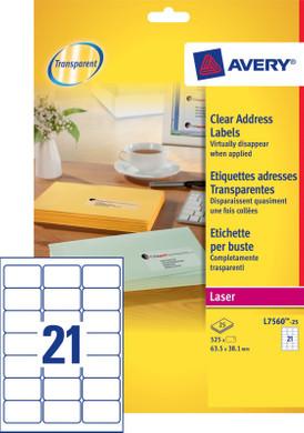 Avery Adresetiketten Transparent Laser 63,5x38,1mm 25 Vellen