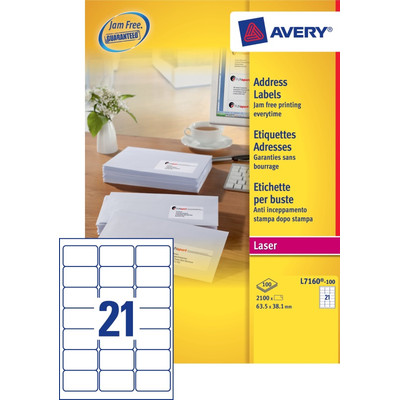 Image of Avery Adresetiketten QuickPEEL Wit 63,5x38,1mm 100 Vellen