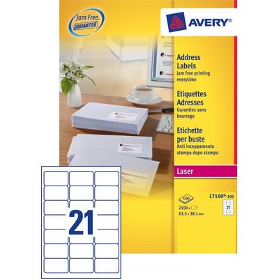 Image of Avery Adresetiketten QuickPEEL Wit 63,5x38,1mm 100 Vellen