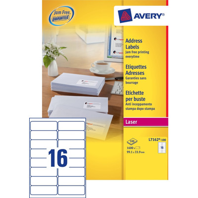 Image of Avery Adresetiketten QuickPEEL Wit 99,1x33,9mm 100 Vellen
