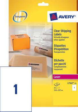 Avery Verzendetiketten Transparent Laser A4 25 Vellen