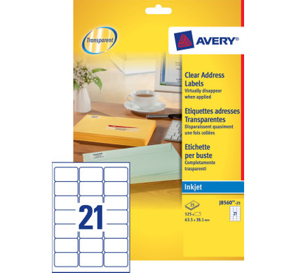 Avery Adresetiketten Transparent Inktjet 63,5x38,1mm