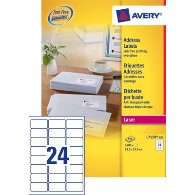 Image of Avery Adresetiketten QuickPEEL Wit Laser 64x34 mm 100 Vellen