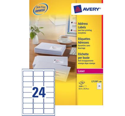 Avery Adresetiketten QuickPEEL Wit Laser 64x34 mm 100 Vellen