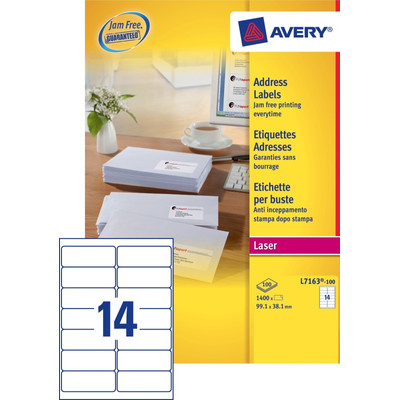 Image of Avery Adresetiketten QuickPEEL Wit 99,1x38,1mm 100 Vellen