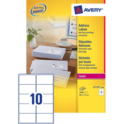 Image of Avery Adresetiketten QuickPEEL Wit 99,1x57mm 100 Vellen