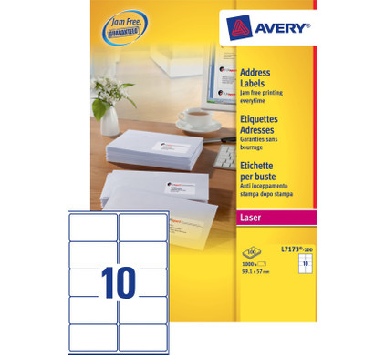 Avery Adresetiketten QuickPEEL Wit 99,1x57mm 100 Vellen