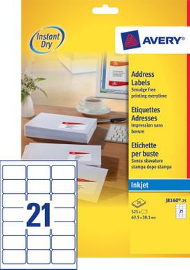 Avery Adresetiketten Wit Inkjet 63,5x38,1mm 25 vellen