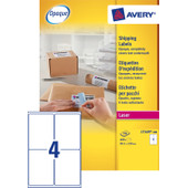 Avery Verzendetiketten BlockOut Wit Laser 139x99,1mm