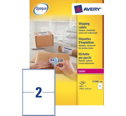 Avery Verzendetiketten BlockOut Wit Laser 199,6x143,5mm