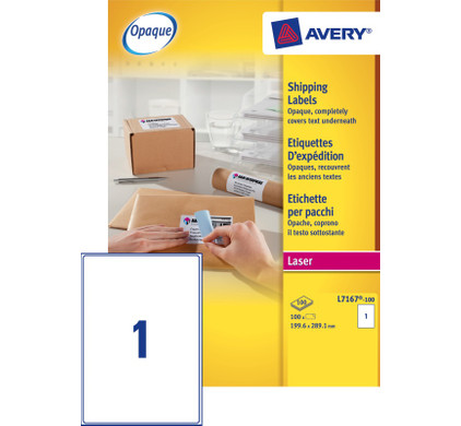 Avery Verzendetiketten BlockOut Wit Laser 199,6x289,1mm
