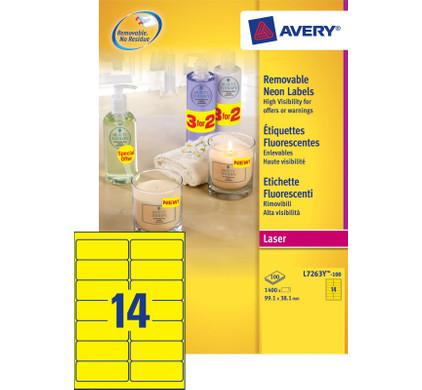 Avery Neon-Etiketten Afneembaar Geel Laser 99,1x38,1mm