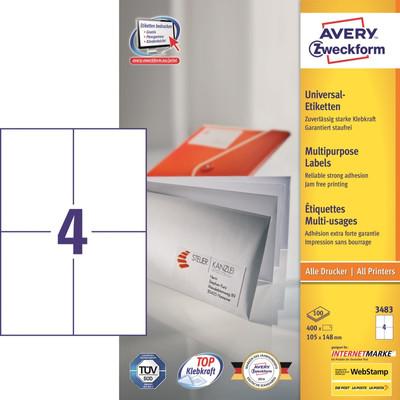 Image of Avery Universele Etiketten Wit 105x148mm 100 vellen
