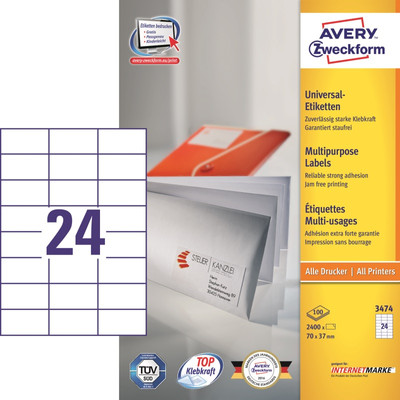 Image of Avery Universele Etiketten Wit 70x37mm 100 vellen