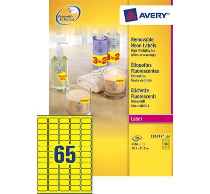 Avery Neon-Etiketten Afneembaar Geel Laser 38,1x21,2mm